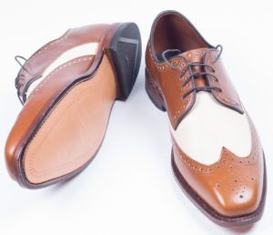 brown & white spectator shoes