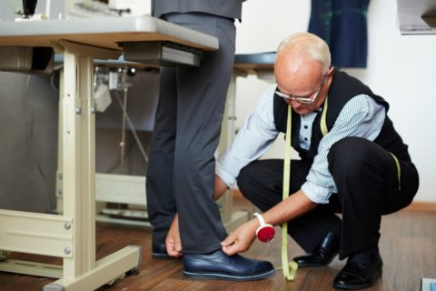Getting fitted for suit pants - suit trouser fitting with a tailor
